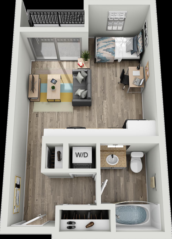 A1A | Studio1 bath | from 493 square feet