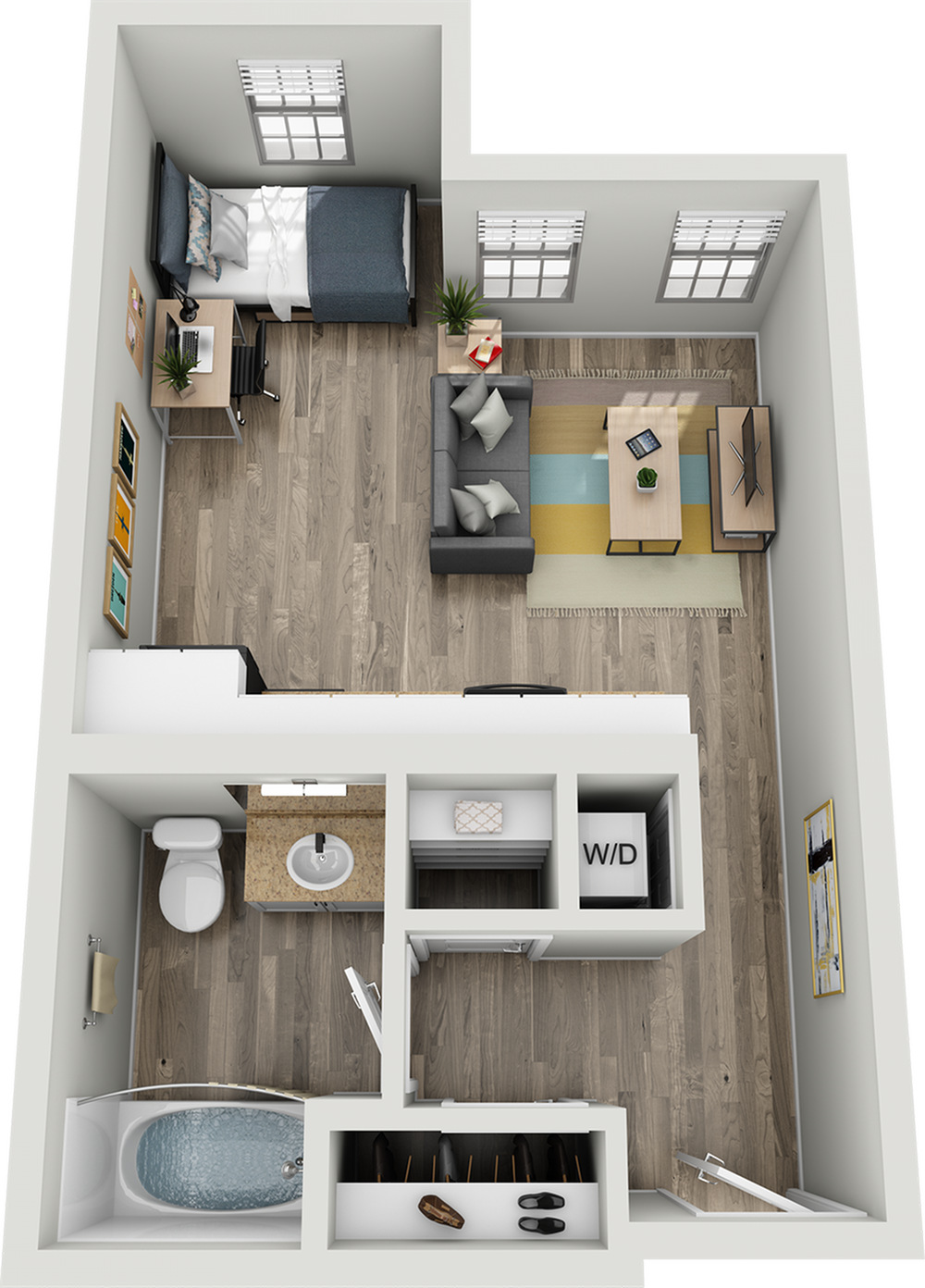 A1B | Studio1 bath | from 425 square feet