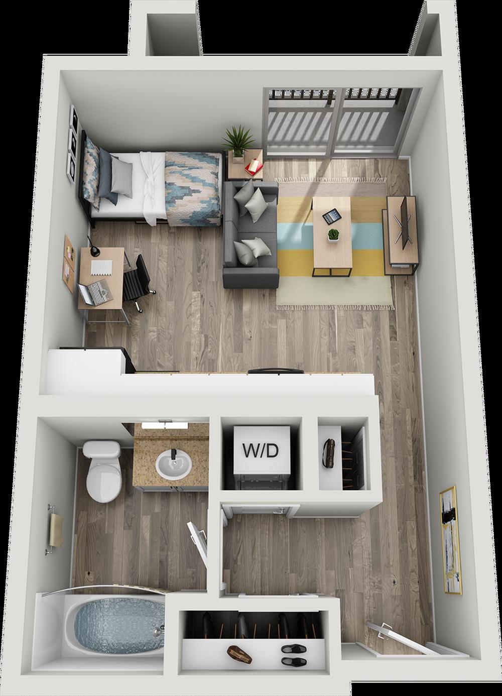 A1C | Studio1 bath | from 425 square feet