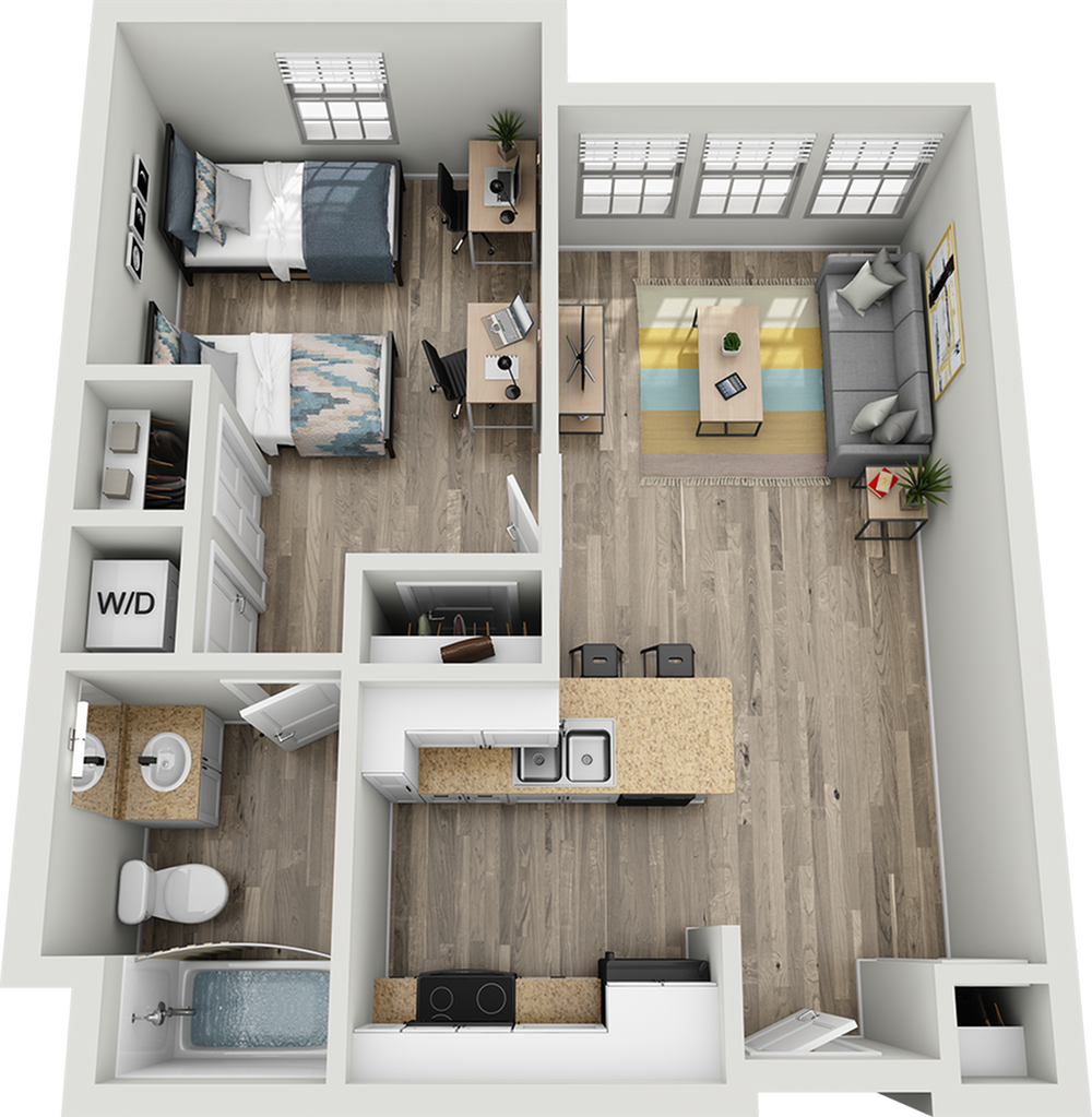 A2B | 1 bed 1 bath | from 720 square feet