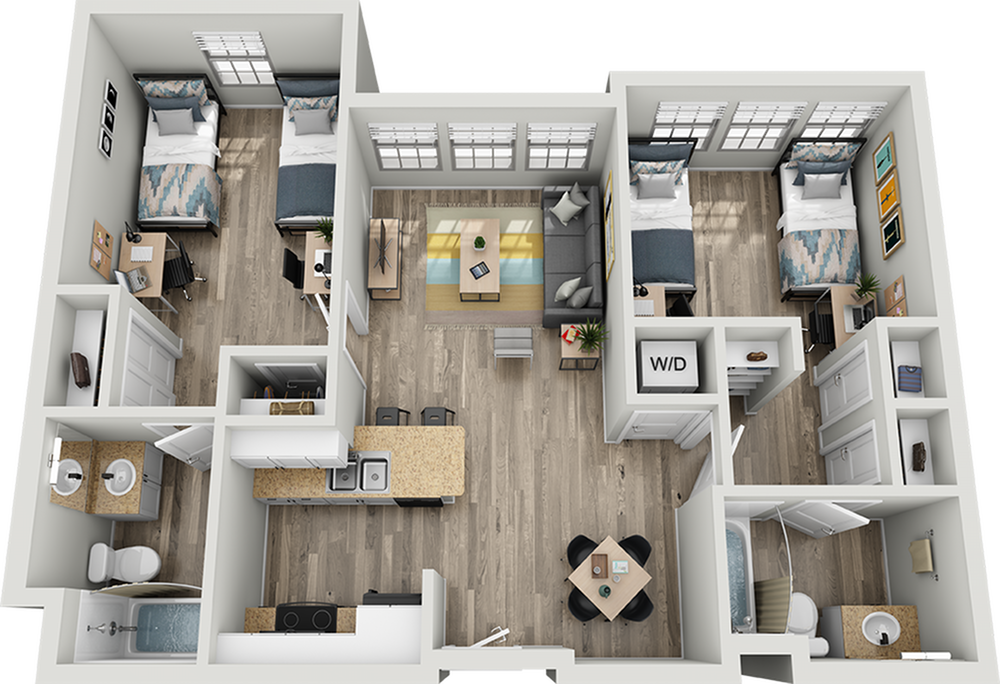 B1B | 2 bed 2 bath | from 911 square feet