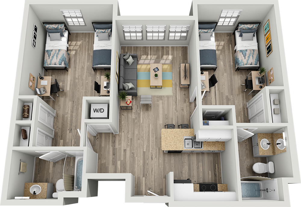 B1A | 2 bed 2 bath | from 981 square feet