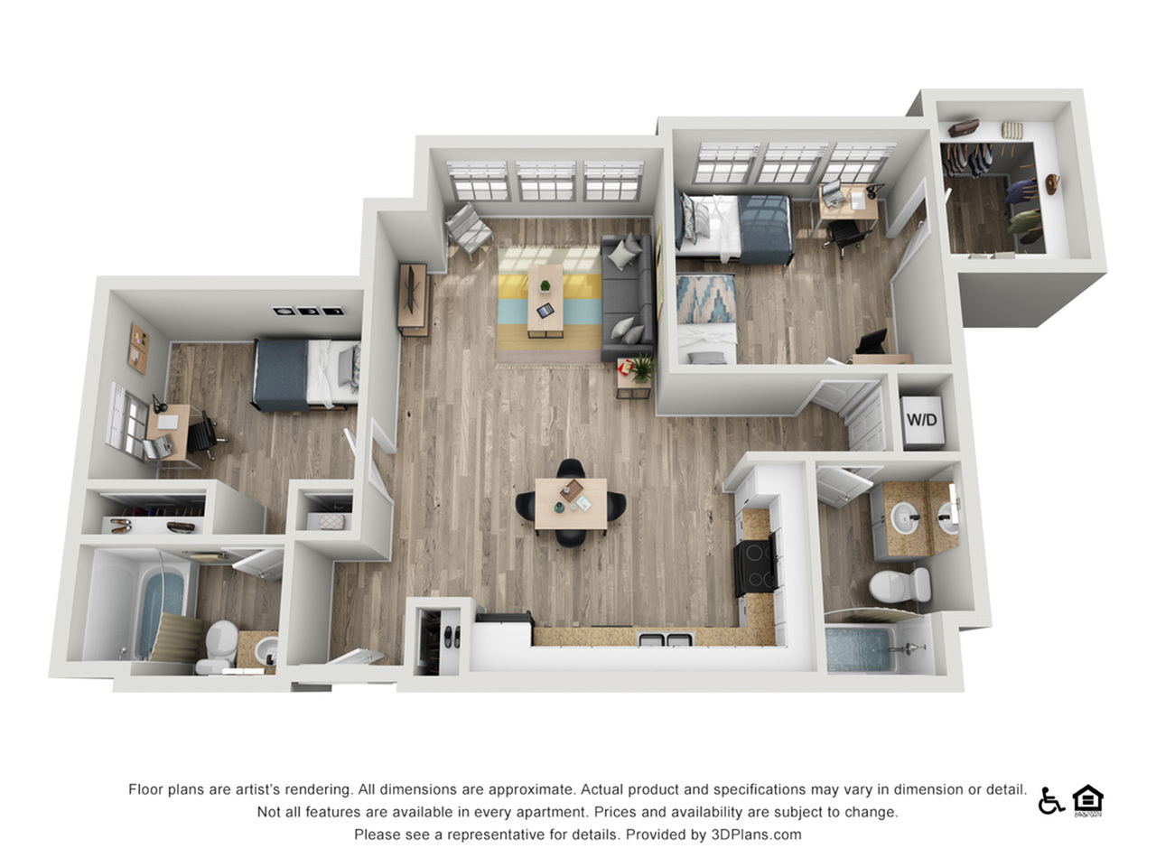 B1F | 2 bed 2 bath | from 988 square feet
