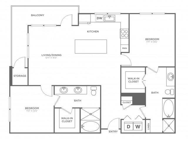 The Ross | 2 bed 2 bath | from 1251 square feet