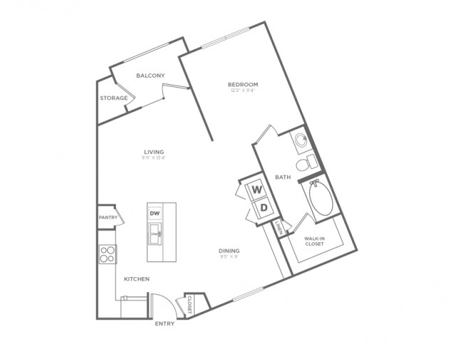1 Bdrm Floor Plan | Dallas Apartments In Knox Henderson | Fitzhugh Urban Flats