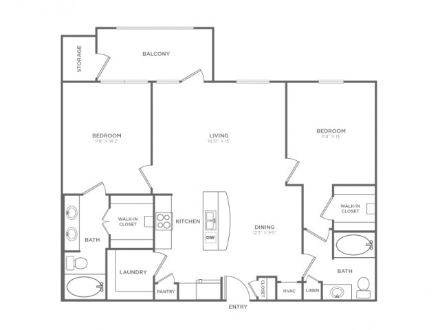 2 Bedroom Floor Plan | Dallas Knox Henderson Apartments | Fitzhugh Urban Flats