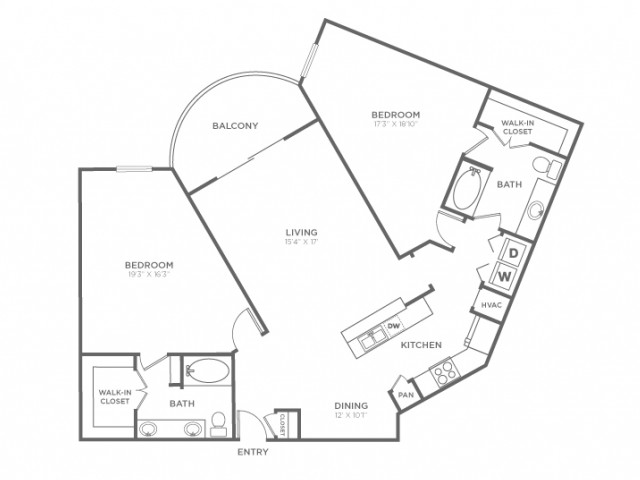 2 Bdrm Floor Plan | Apartments In Knox Henderson | Fitzhugh Urban Flats