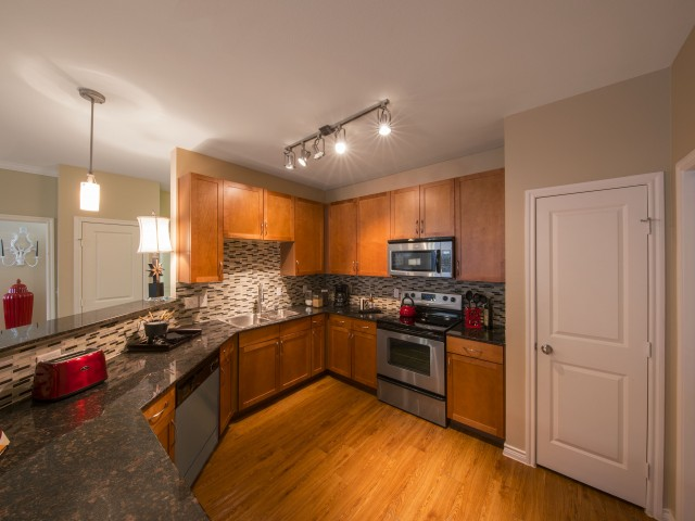 Image of Chic granite countertops and hardwood cabinets for Fitzhugh Urban Flats