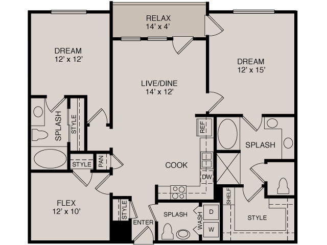 C1/C2 2-2 | 2 bed 3 bath | from 1282 square feet