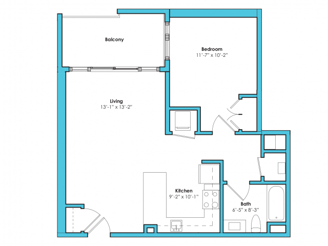 o-1d | 1 bed 1 bath | from 710 square feet
