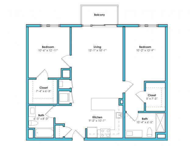 o-2b | 2 bed 2 bath | from 1040 square feet