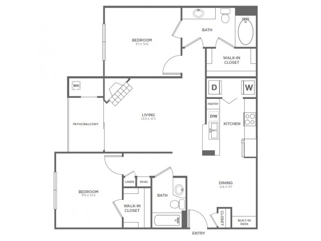 B2 | 2 bed 2 bath | from 1073 square feet