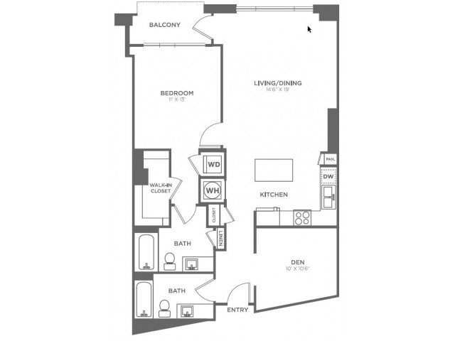 A19 | 1 bed 2 bath | from 1002 square feet