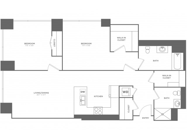 2I Fry | 2 bed 2 bath | from 1258 square feet