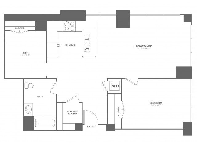 1M Jobs | 1 bed 1 bath | from 1027 square feet