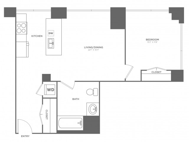1J Edison | 1 bed 1 bath | from 715 square feet