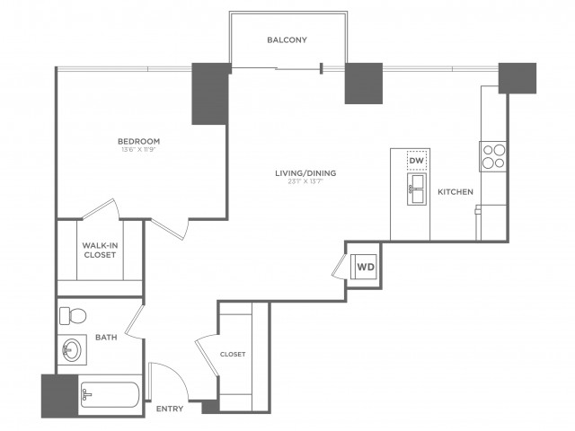 1F DaVinci | 1 bed 1 bath | from 874 square feet