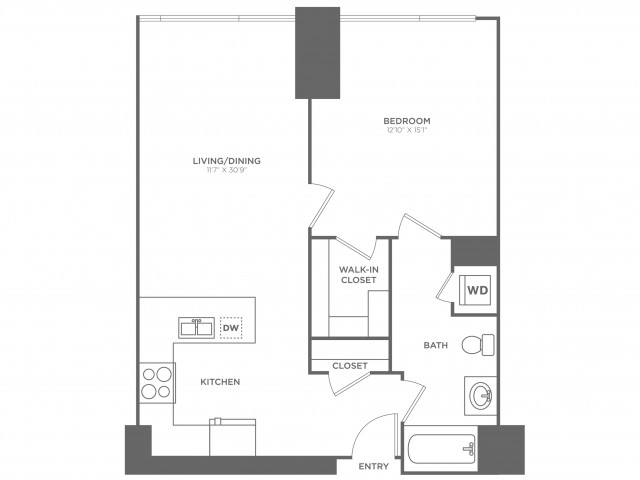 1D Hawking | 1 bed 1 bath | from 843 square feet