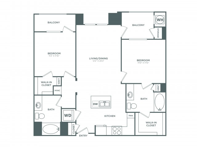 The Balboa | 2 bed 2 bath | from 1070 square feet