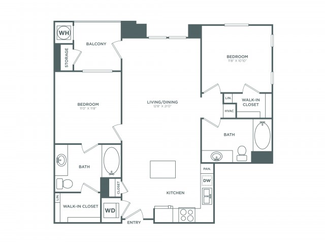 The Laguna | 2 bed 2 bath | from 1028 square feet