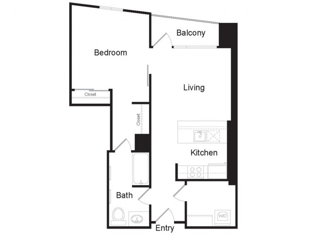 A1 | 1 bed 1 bath | from 744 square feet