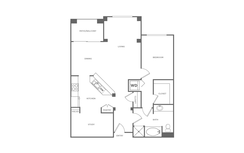 A3 | 1 bed 1 bath | from 1022 square feet