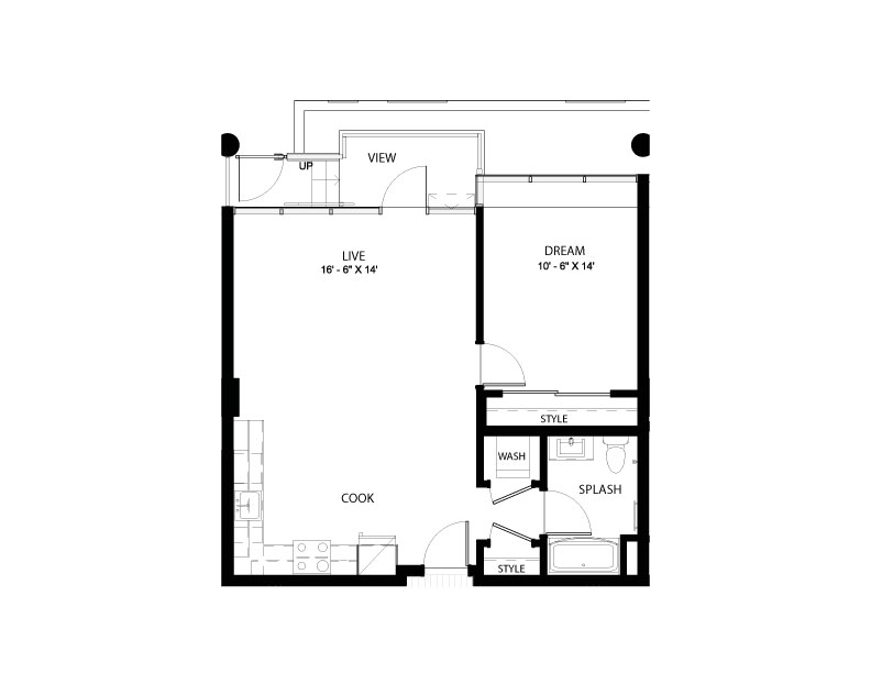 1DD | 1 bed 1 bath | from 730 square feet