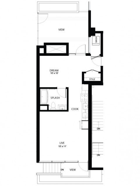 1FF | 1 bed 1 bath | from 630 square feet