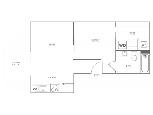 A1 | 1 bed 1 bath | from 515 square feet
