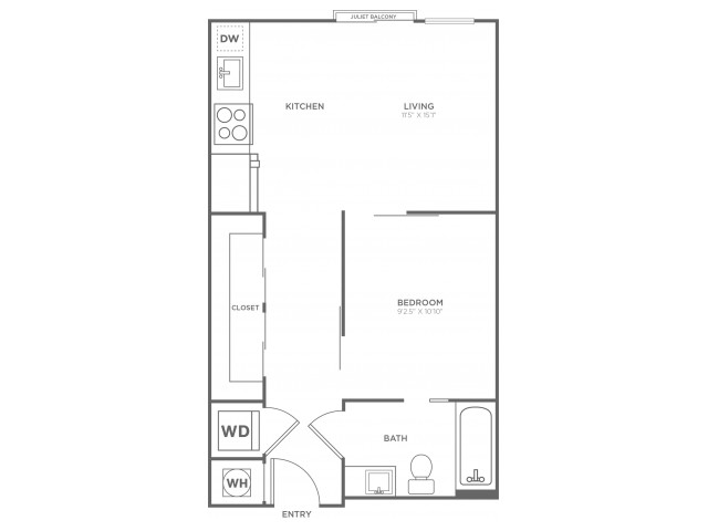 A5 | 1 bed 1 bath | from 570 square feet