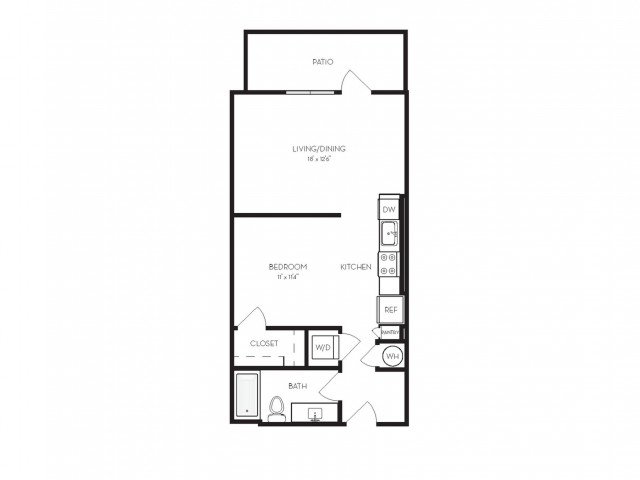 A1 | 1 bed 1 bath | from 607 square feet
