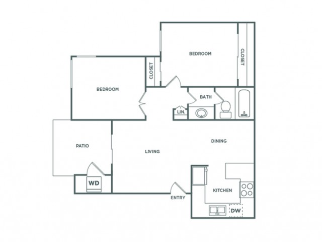 B1GR | 2 bed 1 bath | from 747 square feet