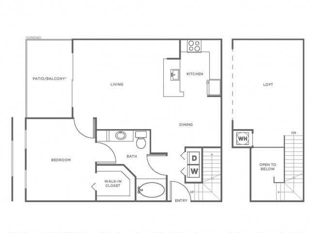 A2 | 1 bed 1 bath | from 1046 square feet