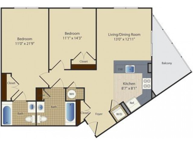 2 Bed B1 | 2 bed 2 bath | from 966 square feet