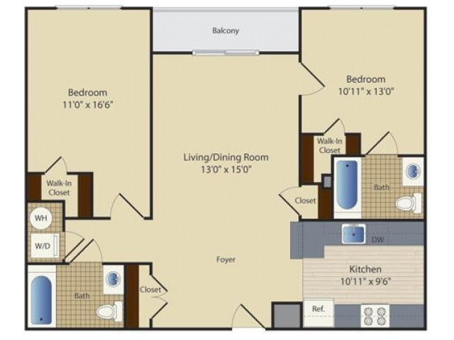 2 Bed A1 | 2 bed 2 bath | from 969 square feet