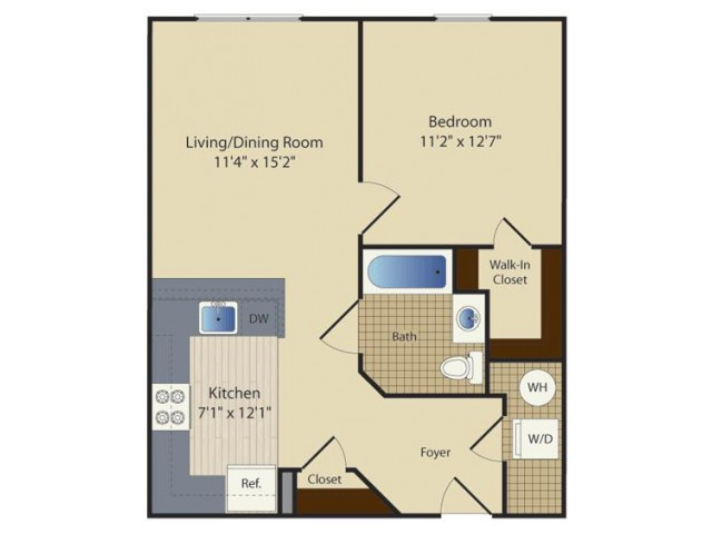 1 Bed A1 | 1 bed 1 bath | from 634 square feet