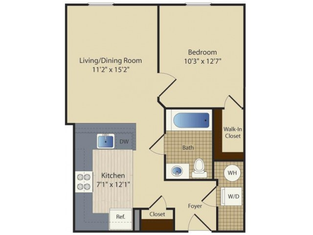 1 Bed A6 | 1 bed 1 bath | from 576 square feet