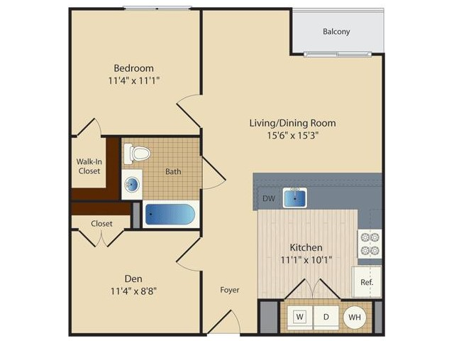 1 Bed/ Den B2 | 1 bed 1 bath | from 752 square feet