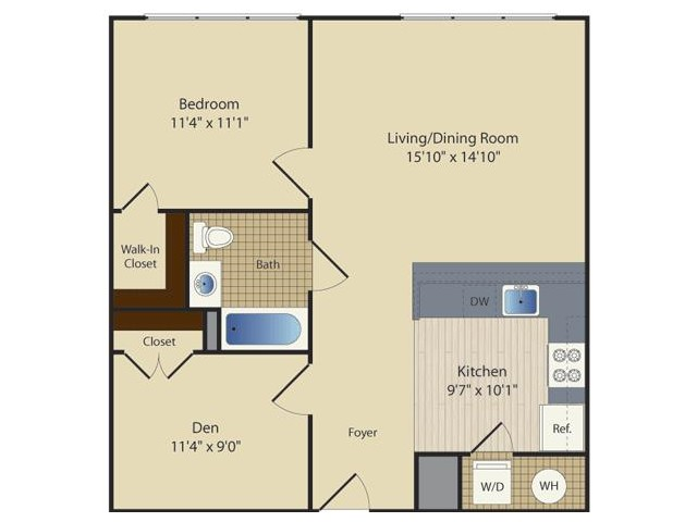 1 Bed/ Den B3 | 1 bed 1 bath | from 785 square feet