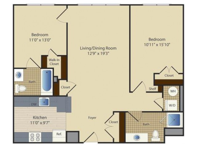 2 Bed A5 | 2 bed 2 bath | from 1001 square feet