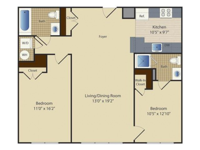2 Bed A7 | 2 bed 2 bath | from 1008 square feet