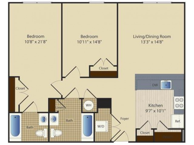 2 Bed B3 | 2 bed 2 bath | from 987 square feet