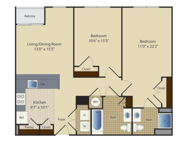 2 Bed B6 | 2 bed 2 bath | from 963 square feet