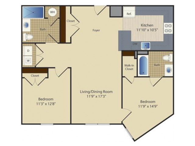 2 Bed C1 | 2 bed 2 bath | from 1005 square feet