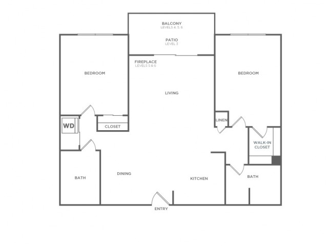 Plan C | 2 bed 2 bath | from 972 square feet