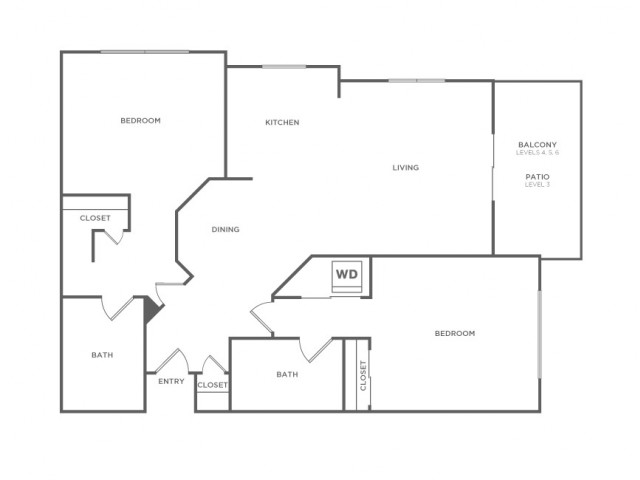 Plan A | 2 bed 2 bath | from 972 square feet