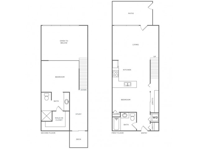 Dual Story Loft   2 bed 2 bath   from 1340 square feet