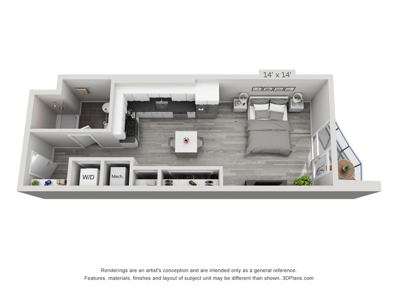 S3 | Studio1 bath | from 523 square feet