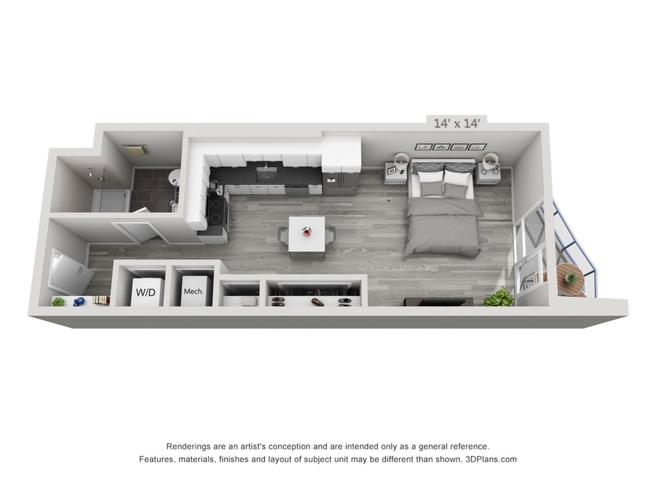 S3 | Studio1 bath | from 523 square feet