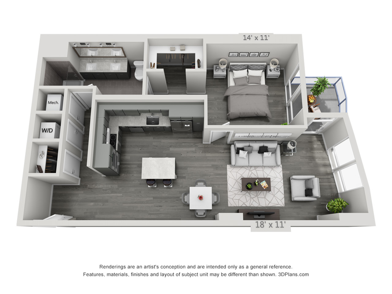 A7 | 1 bed 1 bath | from 944 square feet